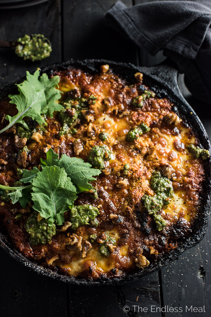 Easy Vegetarian Skillet Lasagna with Kale Olive Pesto | This easy to make Meatless Monday dinner recipe is crazy delicious and will be a huge hit at your table. Easily make this a gluten-free meal by using gluten-free lasagna noodles. | theendlessmeal.com