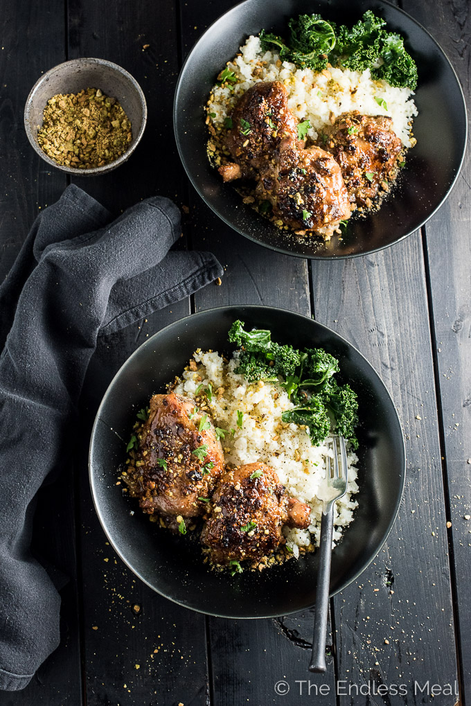 Sweet and Sticky Pistachio Honey Chicken (with cauliflower rice) | theendlessmeal.com