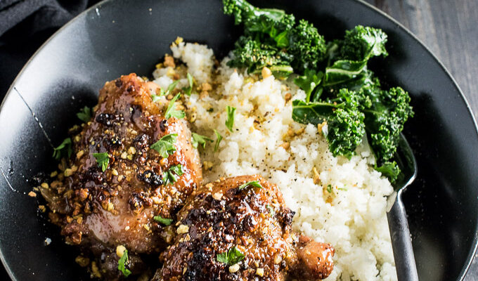 Sweet and Sticky Pistachio Honey Chicken (with cauliflower rice)   theendlessmeal.com