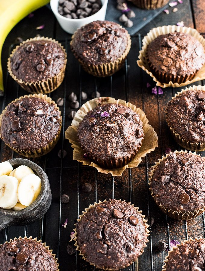 Triple Chocolate Paleo Banana Muffins