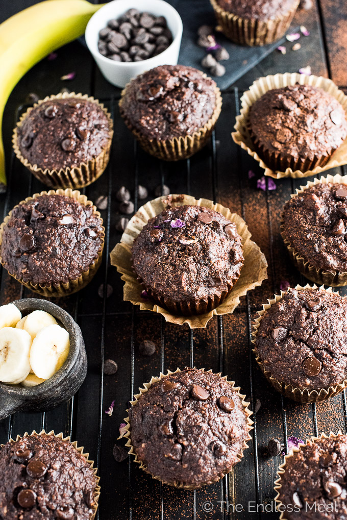 These healthy Triple Chocolate Banana Muffins are crazy delicious. They're dairy-free, gluten-free, SUGAR-FREE and made without any flour and they are so tasty. They're 100% paleo approved, but you don't have to be paleo to love them! | theendlessmeal.com