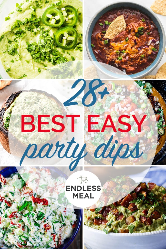 A collage of the best easy party dips with the post title on the picture.