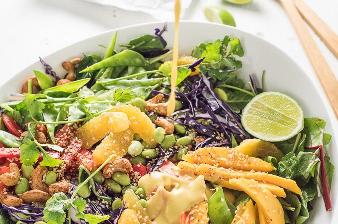Thai Chopped Salad with Sweet Sesame Mango Dressing and Crispy Wontons by The Endless Meal