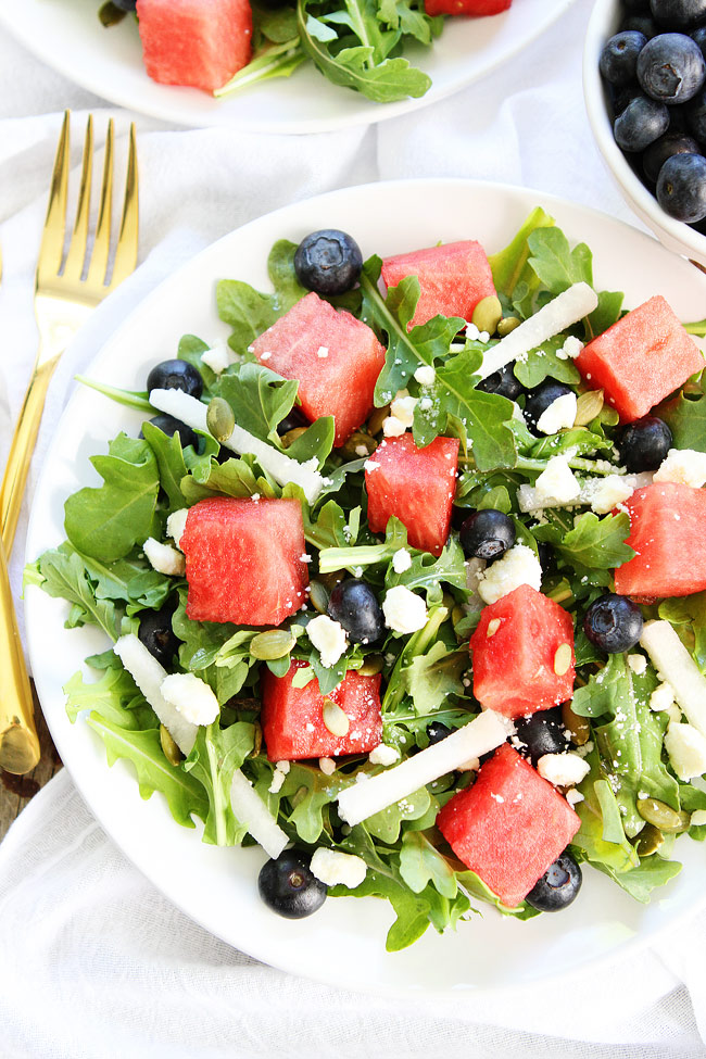 Watermelon, Blueberry, and Jicama Arugula Salad by Two Peas & Their Pod | The 15 Best Healthy Side Dishes for Your Summer BBQs