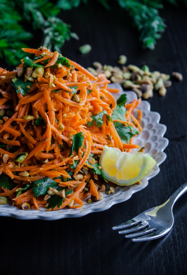 Carrot Salad with Coriander Vinaigrette and Pistachios by A Beautiful Plate | The 15 Best Healthy Side Dishes for Your Summer BBQs