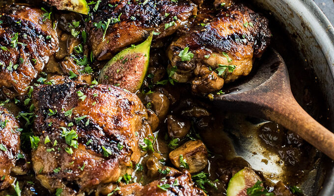 Balsamic Fig Chicken Marsala | This delicious chicken is seared brown, cooked in a sweet wine, fig, and mushroom sauce, then drizzled with a little reduced balsamic. It's pretty enough for a special dinner party yet easy enough to make during the week. | theendlessmeal.com
