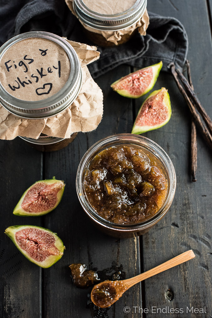 This Chunky Fig Jam has hints of whiskey and a punch of vanilla. Spread it on toast, dollop it on yogurt, serve it on a cheese platter, or eat it by the spoonful. You're going to LOVE it! | theendlessmeal.com