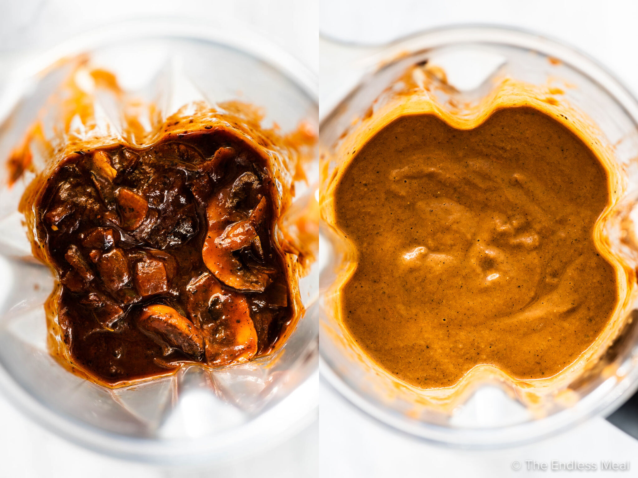 Two pictures of the mushroom gravy in a blender before and after it is blended smooth.