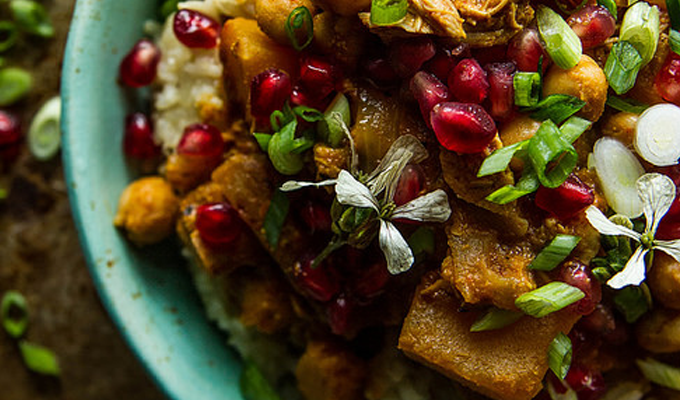 Pumpkin Chicken Curry with Cranberry Coconut Almond Rice by Heather Christo | The 15 Best Healthy Halloween Dinners
