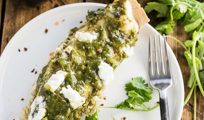 Green Chicken Enchiladas with Arroz Verde and Charred Tomatillo Sauce by The Endless Meal | The 15 Best Healthy Halloween Dinners