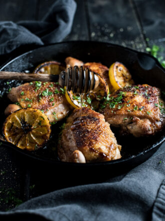 Honey Lemon Chicken is pan-seared on your stovetop then cooked in a lightly sweetened lemony sauce. It's a crazy easy recipe to make and a true crowd-pleaser. | theendlessmeal.com