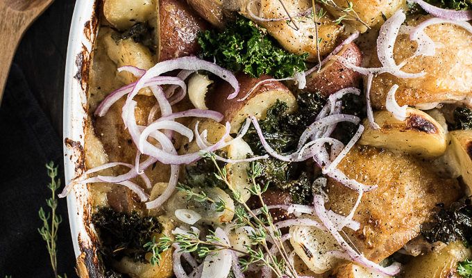 Healthy One Pan Chicken Potato Gratin is a remake of the famous classic. We've snuck in extra veggies by replacing the traditional butter and flour heavy sauce for a rich and cheesy cauliflower sauce, then nestled in some crispy skinned chicken and kale for a delicious and easy to make dinner recipe.   theendlessmeal.com