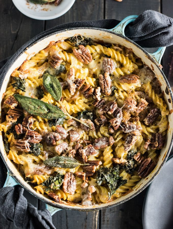Sage Pumpkin Pasta Bake with Kale and Buttered Pecans