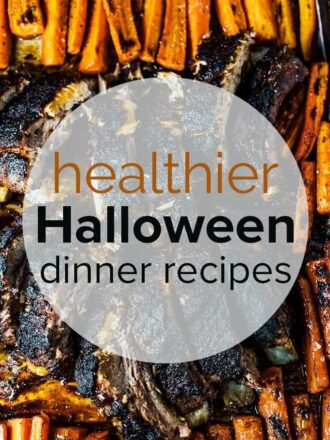 blackened ribs and carrots with the post title healthy halloween dinner recipes on the picture.