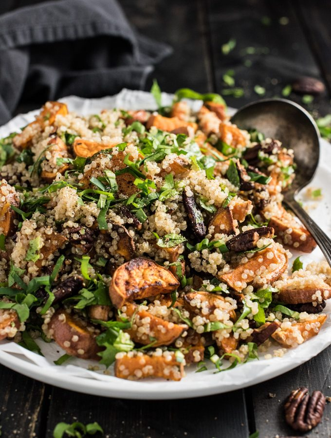 Autumn Quinoa Salad with Sweet Potatoes, Pecans, and a Maple Dijon Dressing