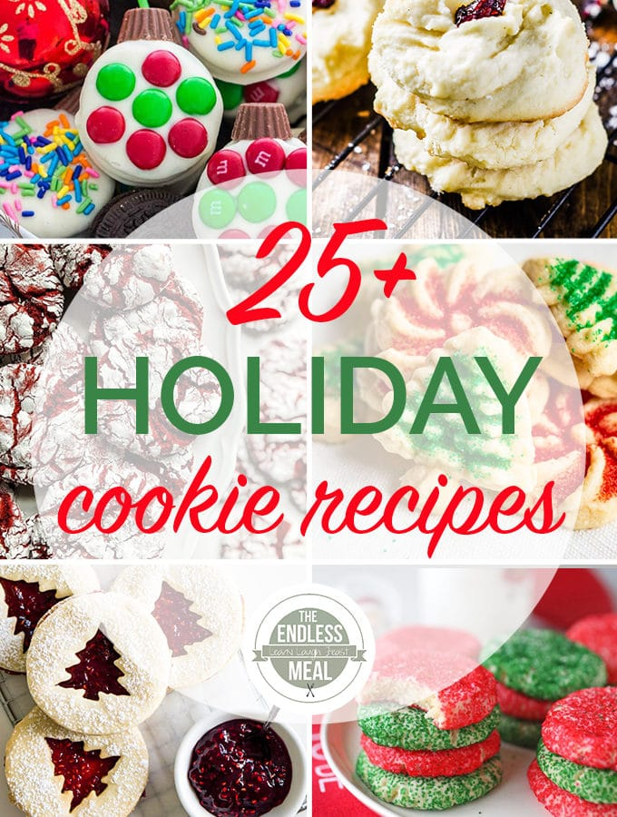 Roundup image of 6 of the cookie recipes in this holiday cookie recipes post.