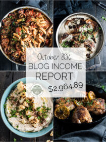 Blog Income Report for October 2016 | Learn about blog monetization and traffic building strategies used by the food blog The Endless Meal | theendlessmeal.com