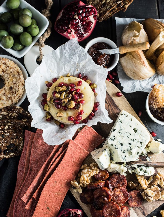 A Killer Cheese Board with Pomegranate Baked Brie