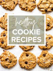 A picture of healthy cookies with the title healthy cookie recipes on top.