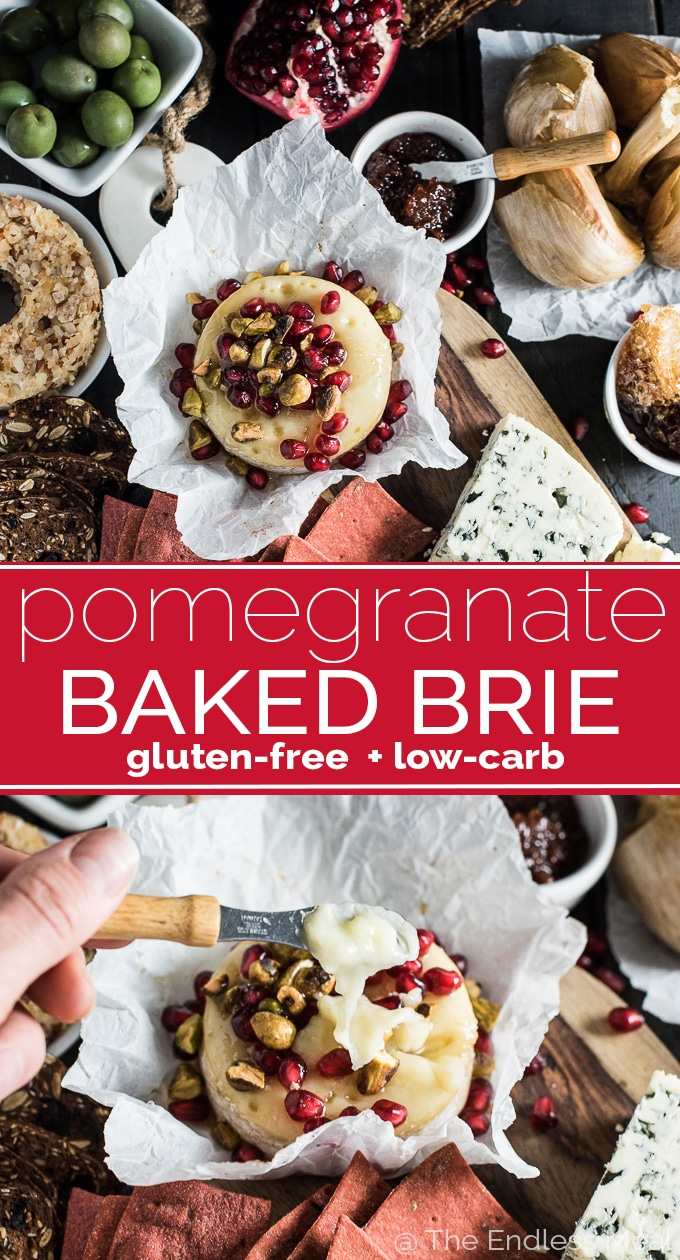SAVE FOR LATER! Creating a killer cheese board is all about having lots of variety. Having a hot out of the oven element is perfect for the holiday season. Try this melty pomegranate baked brie with pistachios and honey. Yum! #theendlessmeal #bakedbrie #cheeseboard #pomegranate #brie #partyrecipes #holidayrecipes