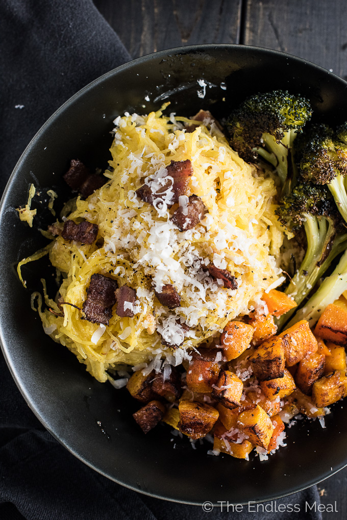 Spaghetti Squash Carbonara is everything deliciously carby dreams are made of, without any of the carbs. It's almost too good to be true. | theendlessmeal.com