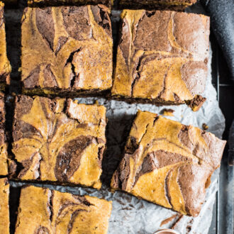 Sweet Harvest Pumpkin Brownies are the ultimate autumn treat. Dark chocolate and pumpkin batters are swirled together to make a pretty and easy dessert. | theendlessmeal.com