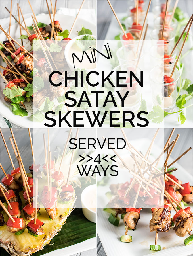 These Mini Chicken Satay Skewers come with a side of Thai peanut dipping sauce and make the perfect appetizer for any party. There are 4 fun ways to serve them ... try them all! | theendlessmeal.com