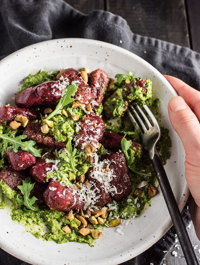 Pretty Beet Gnocchi with Pistachio Arugula Pesto