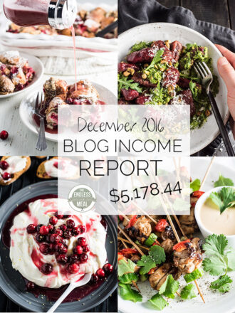 Food Blog Income Report for December 2016. Learn traffic building and blog monetization strategies used by The Endless Meal.   theendlessmeal.com