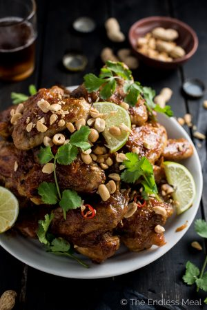 Sticky Thai Peanut Chicken Wings