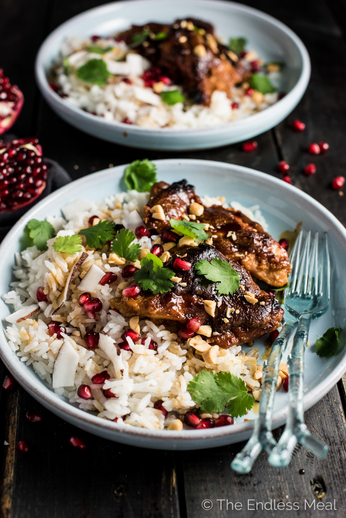 Thai Peanut Pomegranate Chicken is baked in a rich and delicious peanut pomegranate sauce flavored lightly with Thai spices. Serve the chicken with some rice or low-carb cauliflower rice and spoon the creamy sauce over top. It's a healthy dinner recipe everyone will love!   theendlessmeal.com