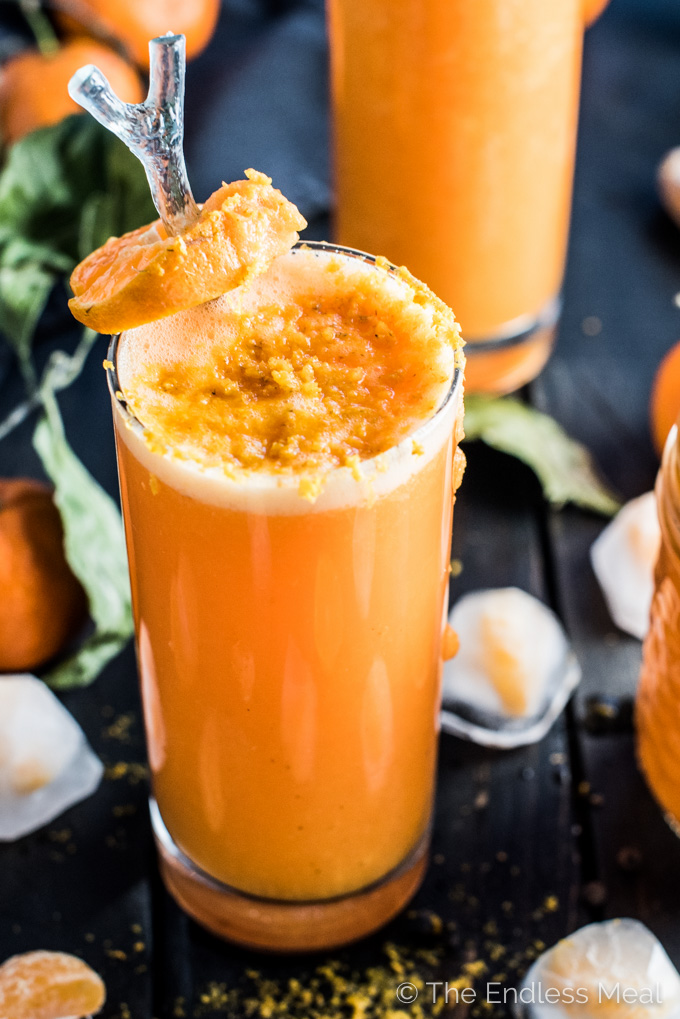 This delicious Orange Ginger Turmeric Smoothie is the perfect winter pick-me-up. It's as tasty as it is healthy. You definitely want to add it to your clean eating January recipe list!   theendlessmeal.com