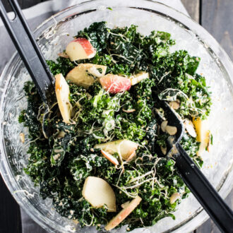 This delicious Creamy Kale Salad is tossed with a maple tahini dressing and dotted with apples, sprouts, almonds, and sesame seeds. It's an easy to make side dish recipe that is naturally vegan + gluten-free and can easily be made paleo.   theendlessmeal.com
