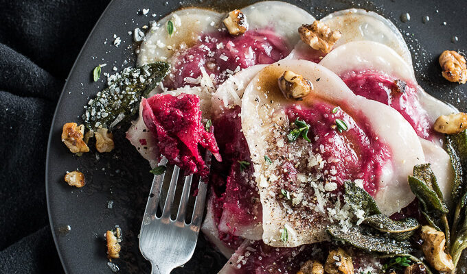 Want to impress your date? Make them Beet and Goat Cheese Ravioli tossed in brown butter and sprinkled with crispy sage and walnuts. It'll be our secret that the ravioli is made with wonton wrappers and is SUPER easy to make. Wonton ravioli is a perfect Valentine's Day dinner recipe or for anytime you're looking for something a little extra special. | theendlessmeal.com