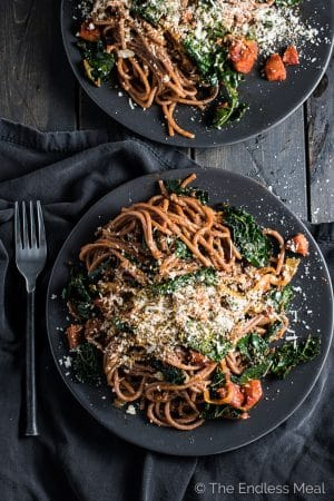 Drunken Red Wine Spaghetti with Spicy Chorizo and Black Kale