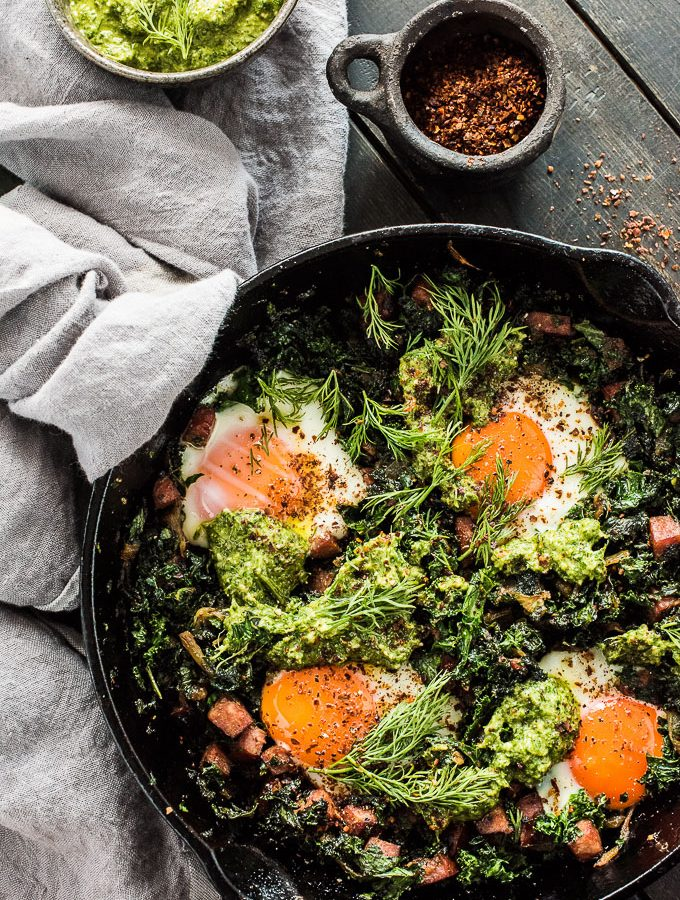 Green Eggs and Ham Shakshuka with Lemon Dill Pesto
