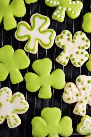Shamrock Sugar Cookies with All Natural Green Frosting ☘️