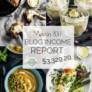 Food Blog Income Report for March 2017. Learn traffic building and blog monetization strategies used by The Endless Meal. | theendlessmeal.com