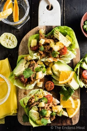 Chipotle Pineapple Orange Crock Pot Chicken Taco Lettuce Boats