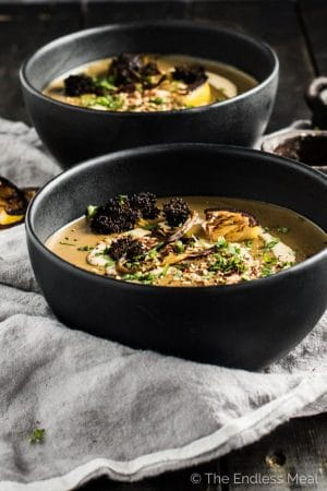 Roasted Broccoli Soup with Lemon Tahini Cream