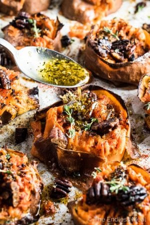 Herb and Garlic Butter Smashed Sweet Potatoes Smoky Pecans