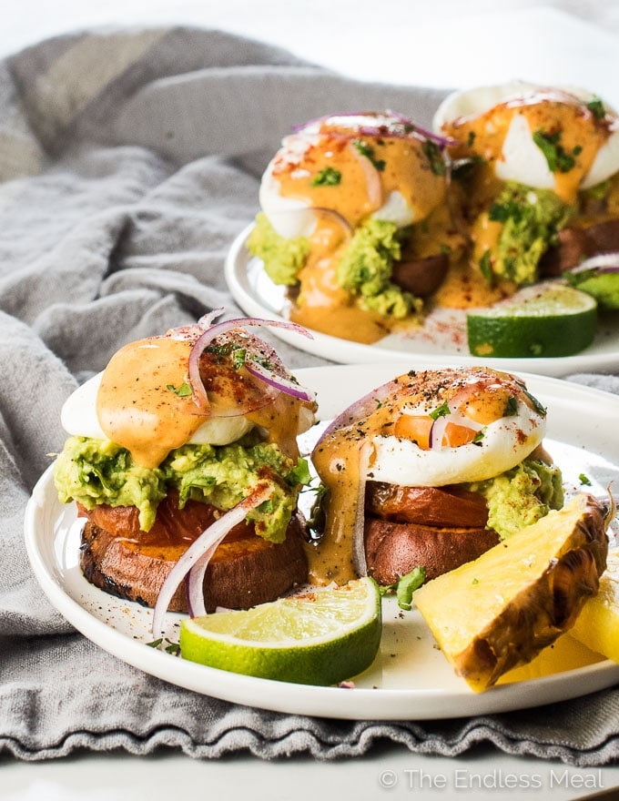 These Mexican Style Sweet Potato Eggs Benedict Start With Roasted Sweet Potatoes Rounds That Are