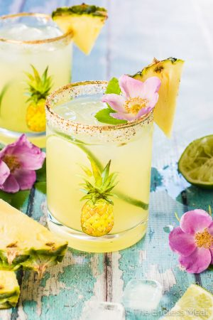 Fresh Pineapple Margaritas with Sweet and Spicy Rim Salt