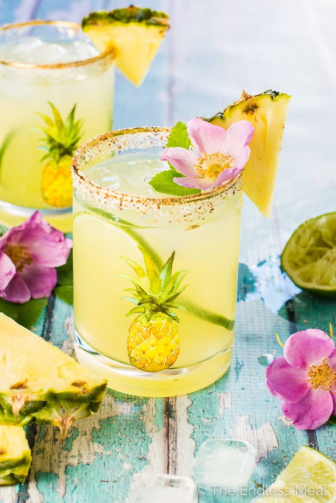Fresh Pineapple Margaritas With Sweet And Spicy Rim Salt The