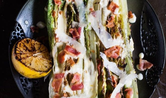 Grilled Romaine Lettuce with Creamy Lemon Dressing by Hapa Nom Nom | The 15 Best Healthy Memorial Day Recipes