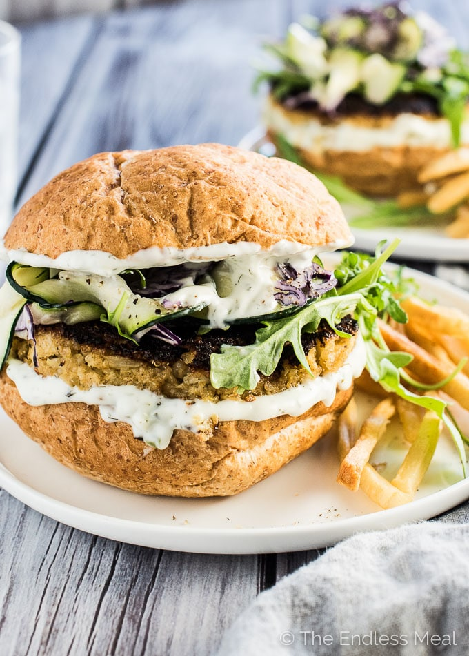 Quinoa Ranch Cauliflower Burgers are a CRAZY delicious vegetarian dinner recipe that even the best meat-eater can get behind. You will love them! | theendlessmeal.com