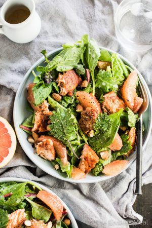 Spicy Grilled Salmon Salad with Grapefruit and Coconut