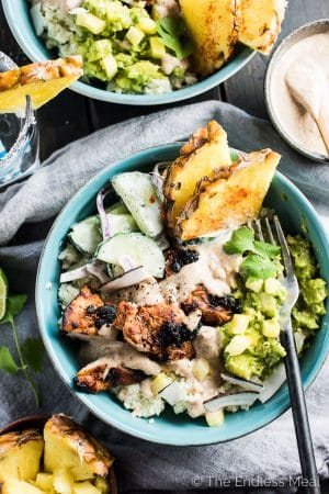 Thai Chicken Burrito Bowls with Coconut Cauli Rice and Pineapple Guac