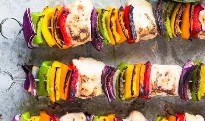 Rainbow Chicken Skewers with Spicy Pesto Sauce by The View from the Great Island | The 15 Best Healthy Memorial Day Recipes