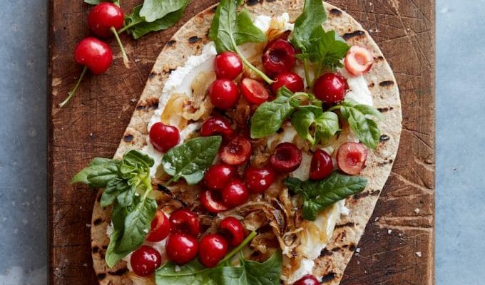 Grilled Cherry Flatbread by What's Gaby Cooking | The 15 Best Healthy Summer Grilling Recipes